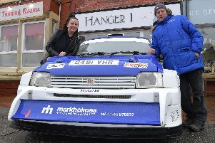 Mark Holmes and Jill Simister with their MG Metro 6R4 rally car ahead of the rally taking place across Wyre