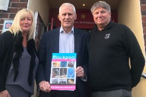 Blackpool South MP Gordon Marsden with Mark and Claire Smith from Number One South Beach