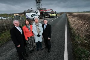 Fylde MP Mark Menzies, Fylde Council deputy leader Karen Buckley, leader Sue Fazackerley and County Coun Peter Buckley at the site of the M55 link.