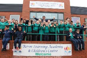 Children celebrate at Revoe Learning Academy