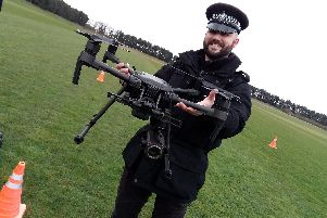 Traffic officer Wes Turner, based at Tinsley, Sheffield, with one of the new South Yorkshire Police drones