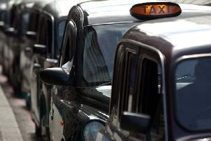Black cabs lined up in Blackpool