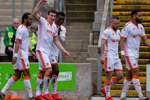 Matty Virtue celebrates his goal in Blackpool's emphatic victory at Bradford City