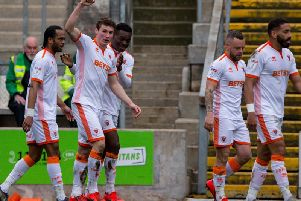 Blackpool celebrate Matty Virtue's stunning strike at Bradford