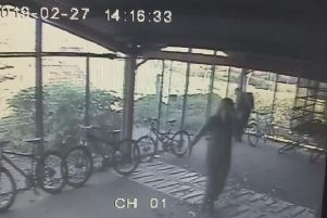 People caught on CCTV in Millfield's bike shed in February