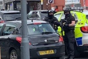 Armed police were seen on Abbeydale Road earlier today. Picture: Sarah Lomas