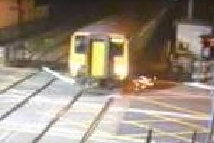 Dramatic footage shows a Northern service crashing into a loose safety barrier at Carleton Crossing in Blackpool Road, Poulton at 1.30am on Monday, April 8.