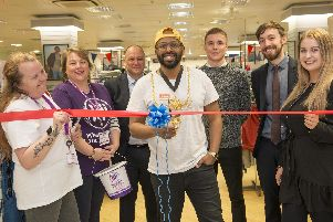 Lord mayor of Sheffield Magid Magid opening the new menswear department at Atkinsons on The Moor. Pictured alongside Sue Plested, Paula Evans, David Cartwright, Cameron McDade ,Steve white and Jodie Metcalfe