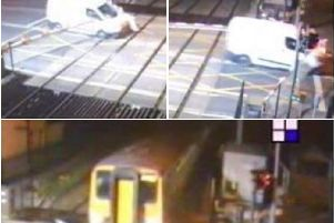 A 31-year-old man from Cumbria has been arrested on suspicion of drink-driving after a van ploughed through safety barriers at Carleton Crossing as a train approached.