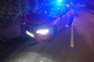 The red BMW crashed on Moss Side Lane. Credit: Lancs Road Police