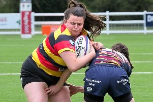 Action from Harrogate RUFC's National Intermediate Cup final defeat to Old Albanians. Picture: Richard Bown