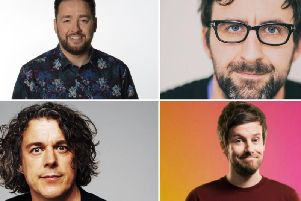 From top left to bottom right: Jason Manford, Mark Watson, Alan Davies, and Chris Ramsey