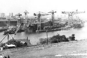 A shipyard on the Tyne in the last century.