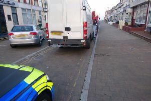 The van on St Chad's Road. Picture by Lancs road police