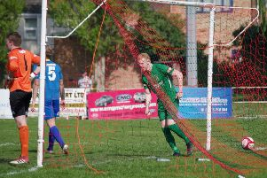 Spalding v Brighouse'Gabriel  Johnson gives Brighouse the lead.'Picture: Steven Ambler