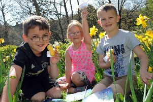 Pavilion Gardens Easter Chick Hunt.'Joshua Owen, 9, Jessie-May Owen, 7 and 8 year old Freddie Gale find success in the Easter chick hunt at the Pavilion Gardens on Saturday.