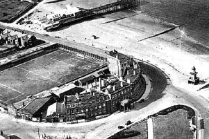 An aerial view of Fleetwood's North Euston Hotel in the 1930s, showing  the former football ground , the town's first pier and the Lower Lghthouse. The North Euston's role as a link between London and Scotland in the Victoria era has led to Fleetwood itself getting a special Red Wheel plaque, to be affixed outside the hotel in May (2019).