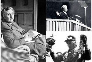 Left: Agatha Christie poses in 1946 holding a notebook, in her home, in Devon  (Pic: AFP/Getty Images). Top right: Jimmy Carter during the Democratic National Convention in New York, June 1976. (Pic: STR/AFP/Getty Images). Bottom right: James Hunt holding up the winners trophies after victory in the Grand Prix at Silverstone, in 1977 (Pic: Getty)