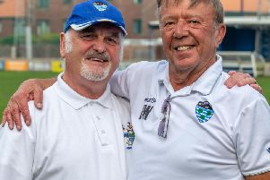 Whitby Town stalwarts Eric Wilson, left, and Dennis Wheeler have retired from their roles at the club. PICTURES BY BRIAN MURFIELD
