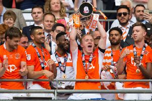 Mark Cullen celebrates Wembley victory with Blackpool