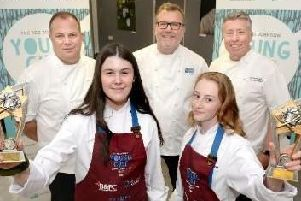 Highfield Academy's winning young chefs Katie Weeks and Ruby Williams have won the prestigious Reg Johnson Young Chef Schools competition judged by Lancashire celebrity chefs Nigel Howarth and Paul Heathcote