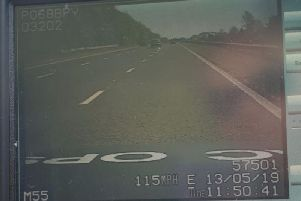 Police clocked her speed at 115mph.