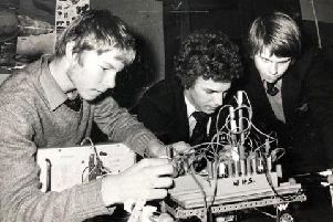 Pictured: Barrie Usher-wood, Steven Legge and Michael Alder test a vehicle travelling between light beams.