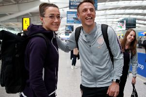 Lucy Bronze and England Women's head coach Phil Neville