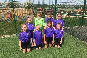 St Wulstan's and St Edmund's Catholic Primary School girls football team.