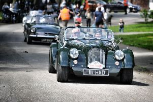 Picture by Julian Brown 09/06/19''Cars start to arrive... a Morgan Plus 8 leads a small convoy''Manchester to Blackpool Classic, Veteran, And Vintage Car Run, Stanley Park, Blackpool