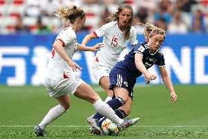 England and Scotland in action at the women's World Cup