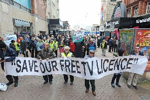 The scrapping of over 75s free TV licenses was on the agenda for the parade