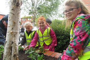 Fleetwood youngsters, from primary schools across the town, get to work in the town's pocket park.
