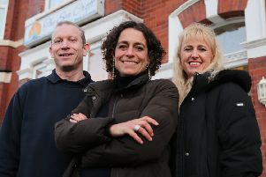 Georgina Bearman (right) and husband Jamie with TV's Hotel Inspector Alex Polizzi