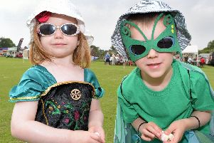 Rueben and Freya Hornby, individual entrants in the Wrea Green Field Day parade