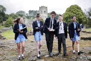 Ripon Grammar School pupils at Fountains Abbey. Photograph: Stuart Boulton