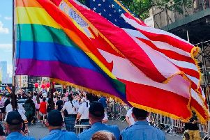 Members of the New York Fire Department marching in the Pride parade.