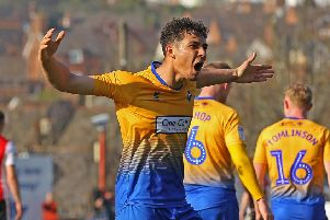 Picture by Gareth Williams/AHPIX.com; Football; Sky Bet League Two; Exeter City v Mansfield Town; 30/3/2019  KO 15.00; St James Park; copyright picture; Howard Roe/AHPIX.com; Mansfield's Tyler Walker celebrates after curling home to make it 3-1 at Exeter
