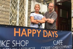 Happy Days Community Hub Manager Beth Currie with Senior Bike Technician Karl Mann at Happy Days Cycles.