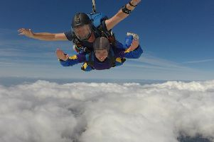 Aimee Smith during her sky dive. Photo taken by Skydive Northwest, Flookburgh.