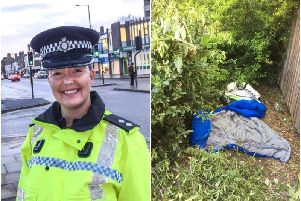 Inspector Helen Brear and, right, sleeping bags found in the bushes on Marsh Way.