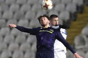 Hornby made his debut for Everton in the Europa League in 2017
