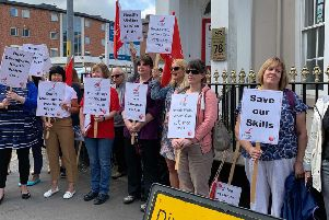 Health visitors protesting outside the offices of Lincolnshire County Council.