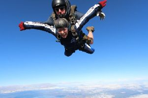 Lorna Pickles doing her skydive for Trinity Hospice's Linden Centre