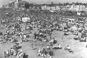 A packed Blackpool beach May 22 1959