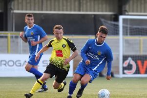 Harrogate Railways Ryan Ferguson gets on the ball during his sides George Smith Memorial Trophy defeat to Harrogate Town under-21s at the CNG Stadium. Picture: Matt Kirkham