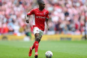LONDON, ENGLAND - MAY 26: Anfernee Dijksteel of Charlton Athletic runs with the ball during the Sky Bet League One Play-off Final match between Charlton Athletic and Sunderland at Wembley Stadium on May 26, 2019 in London, United Kingdom. (Photo by James Chance/Getty Images)