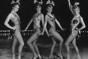 Local skaters joined the dancers in the Hot Ice Show, 1987. Pictured from left are Lisa Whiteside, Lisa Hewitt, Simone Blackburn and Anne Brooke