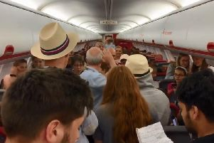 Passengers on a flight to Manchester were surprised today by an impromptu cruising-altitude recital  performed by members of the Wakefield Cathedral Choir.