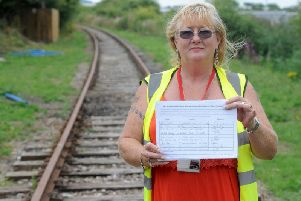 Coun Mary Stirzaker is collecting all the signed petition forms as part of her campaign to try and restore Fleetwood's rail link